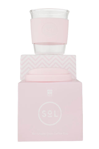 SOL Glass reusable cup- 8oz- Perfect Pink