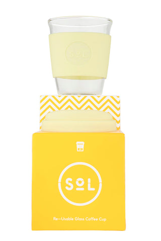 SOL Glass reusable cup- 12oz- Yummy Yellow