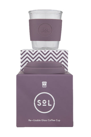 SOL Glass reusable cup- 8oz- Mystic Mauve