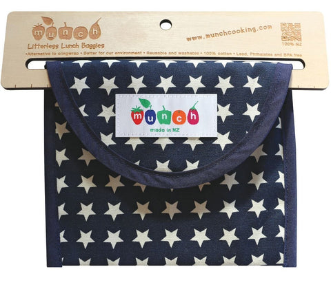 Munch Snack Bag- Blue Stars
