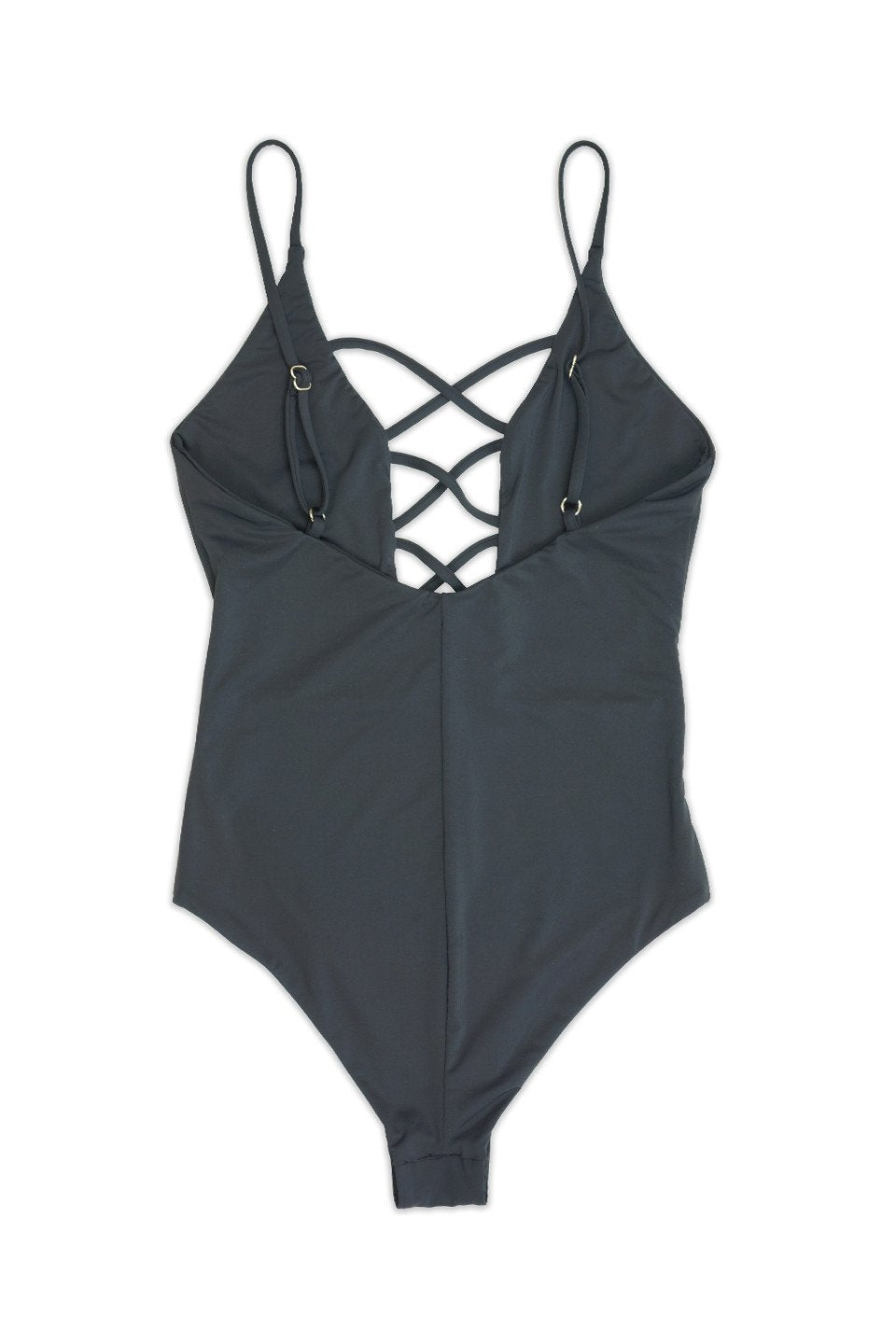 Black one piece with criss cross front detail and cheeky bottom BIKINIbox dippin daisy