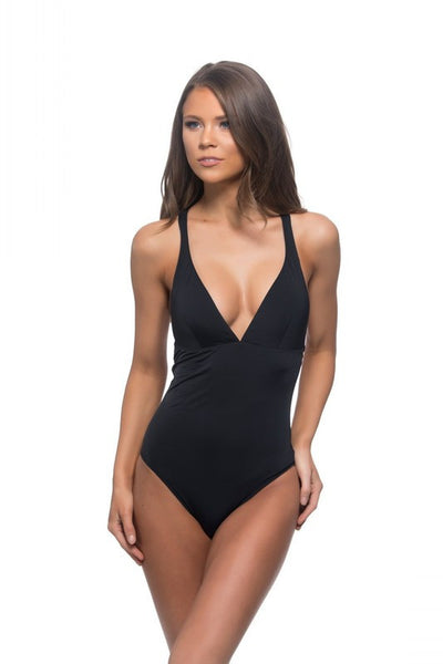 Black one piece with a deep v front and a braided detail back BIKINIbox