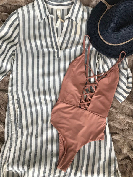 Striped cotton blend dress with 3/4 sleeves Elan BIKINIbox