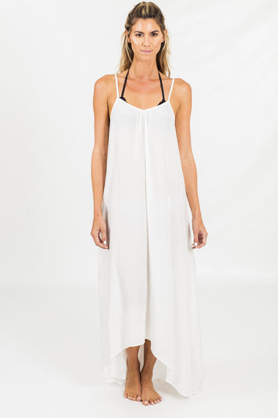 White Hi-lo hem maxi dress BIKINIbox