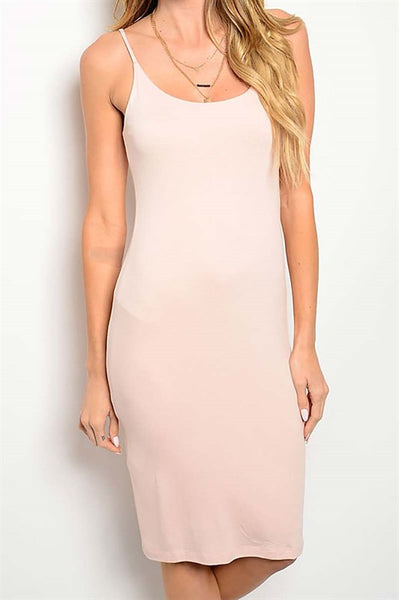 Light pink, body con knee length dress, scoop neck, BIKINIbox
