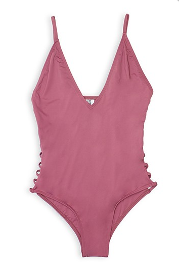 Mauve One Piece Strappy Swimsuit