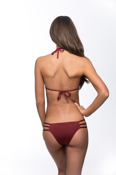 Burgundy side strap brazilian cut bikini bottom BIKINIbox