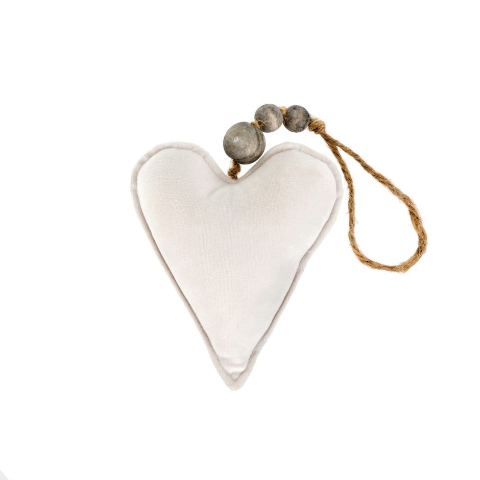 Velvet Heart with Beads - Cream