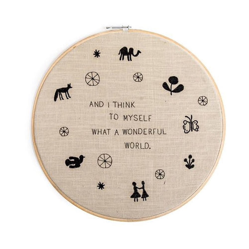 Embroidery Hook Wall Hanging - What A Wonderful World