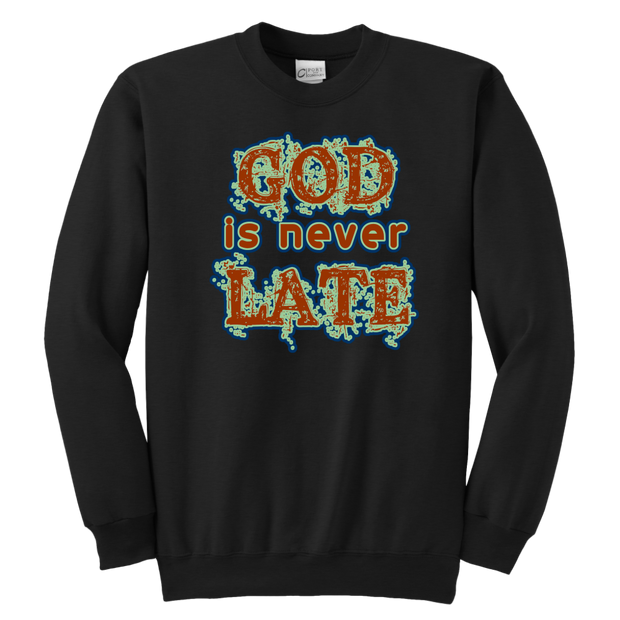 God is never Late Youth Long Sleeve Shirt