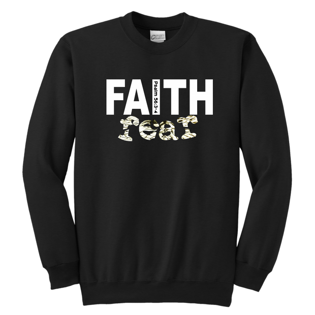Faith over fear — Psalm 56:3-4 Youth Crewneck Sweatshirt