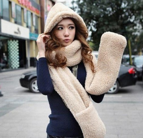 Wool Lovers Cap with Scarf Gloves