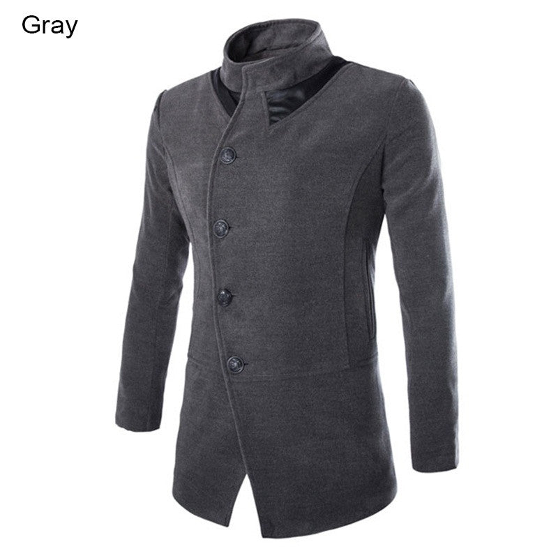 Single Breasted Solid Casual Long Men Overcoat