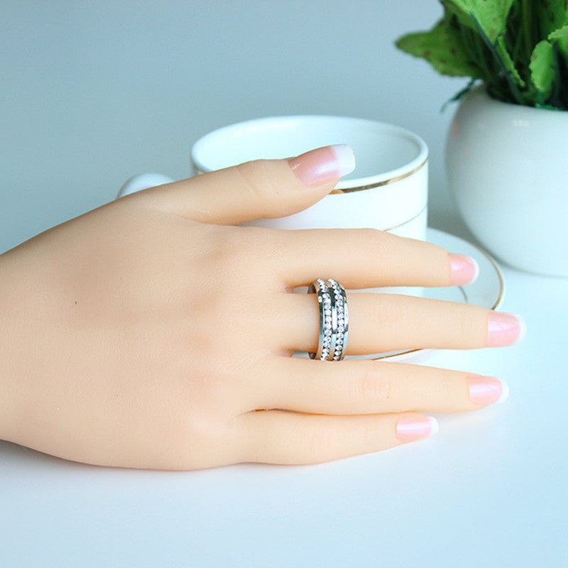 Double Design Crystal Ring