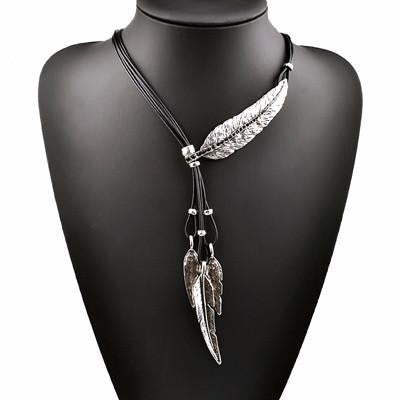 Leaf Feather Pattern Pendant Necklace