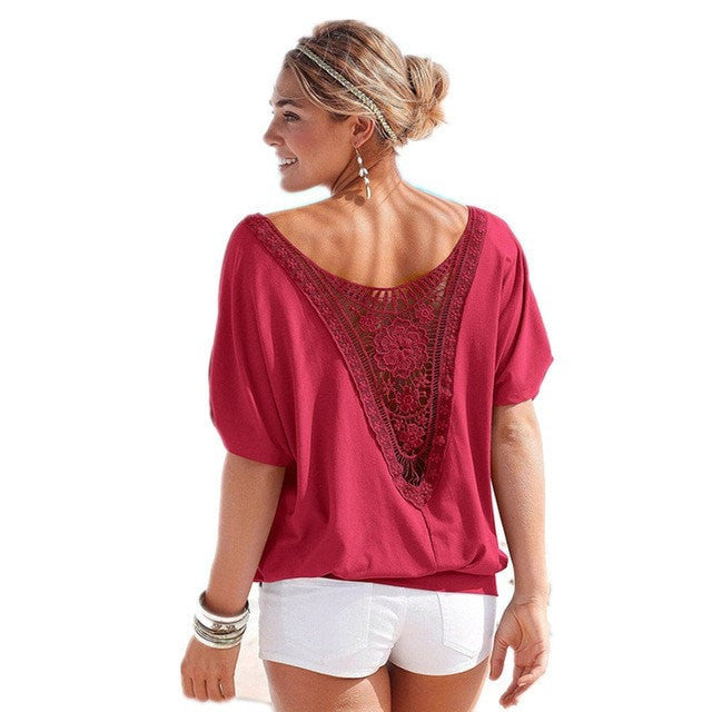 Ladies Loose Stitching Lace Top