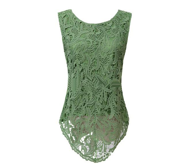 Ladies  Lace Vintage Sleeveless Blouse
