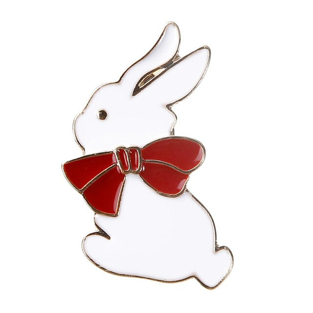 Enamel Wing rabbit five-pointed star Pins