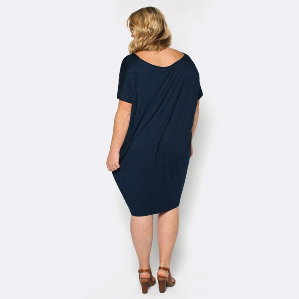 Plus Size Straight Summer Short Sleeve Dress