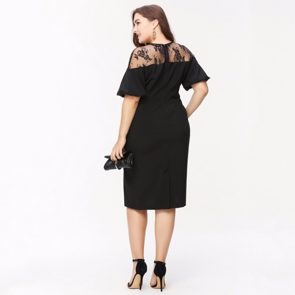 Plus Size Lace  Patchwork Dress