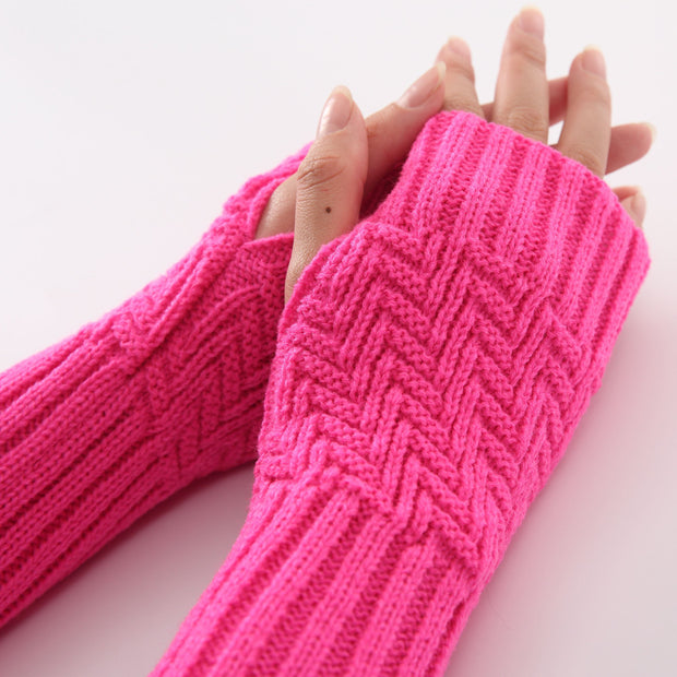 Soft Warm Fingerless  Long Mitten