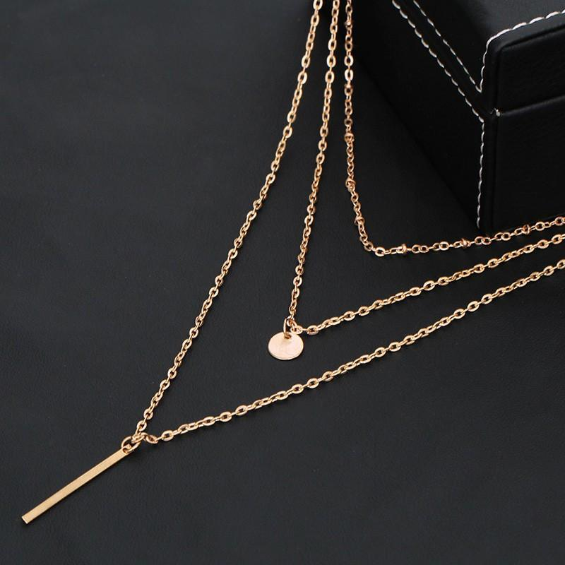 Multi Layers Bar Coin Necklace Clavicle Chains Charm
