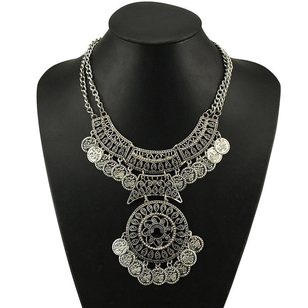 Double Chain Coin Statement Necklace