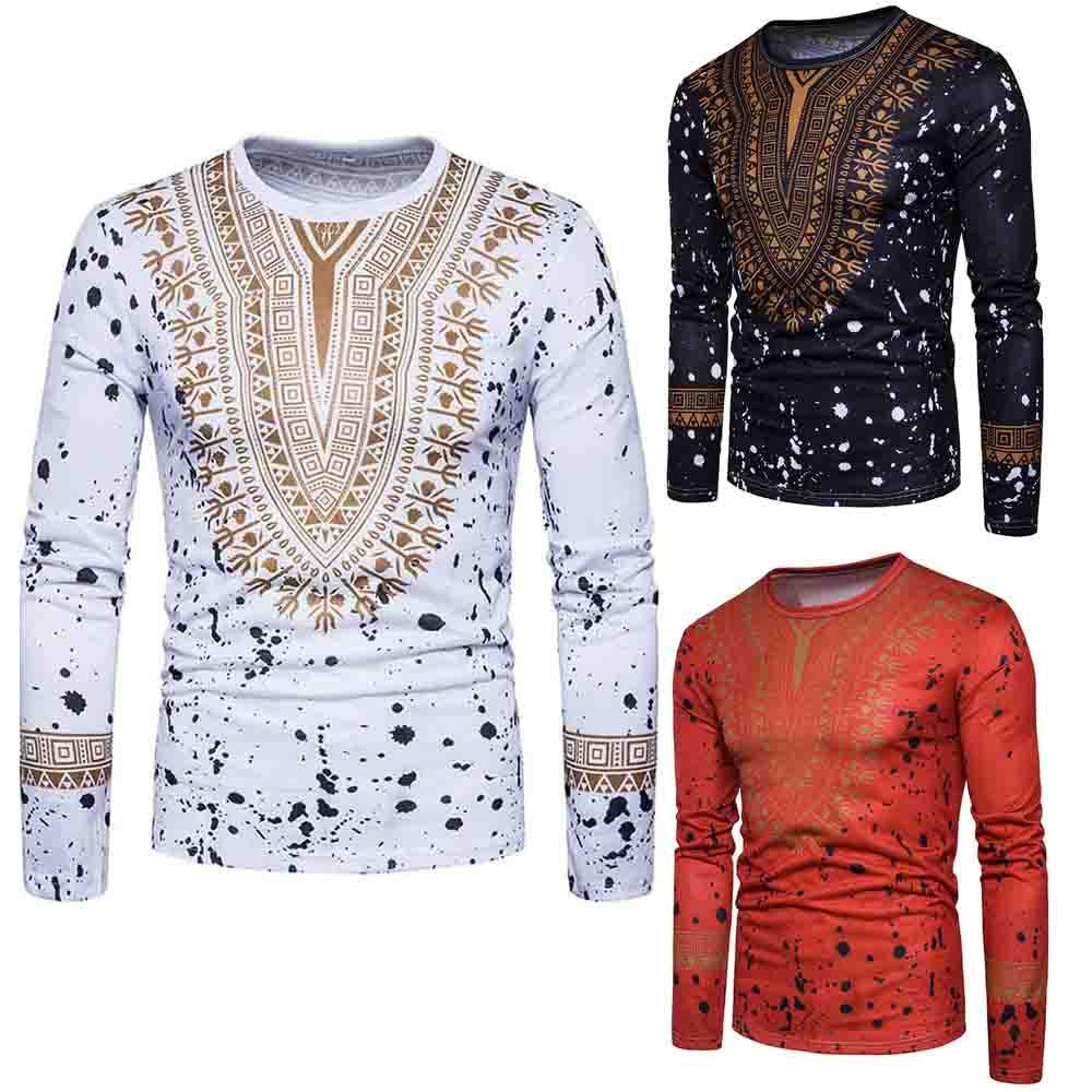 Men's Casual African Print Long Sleeved T-shirt