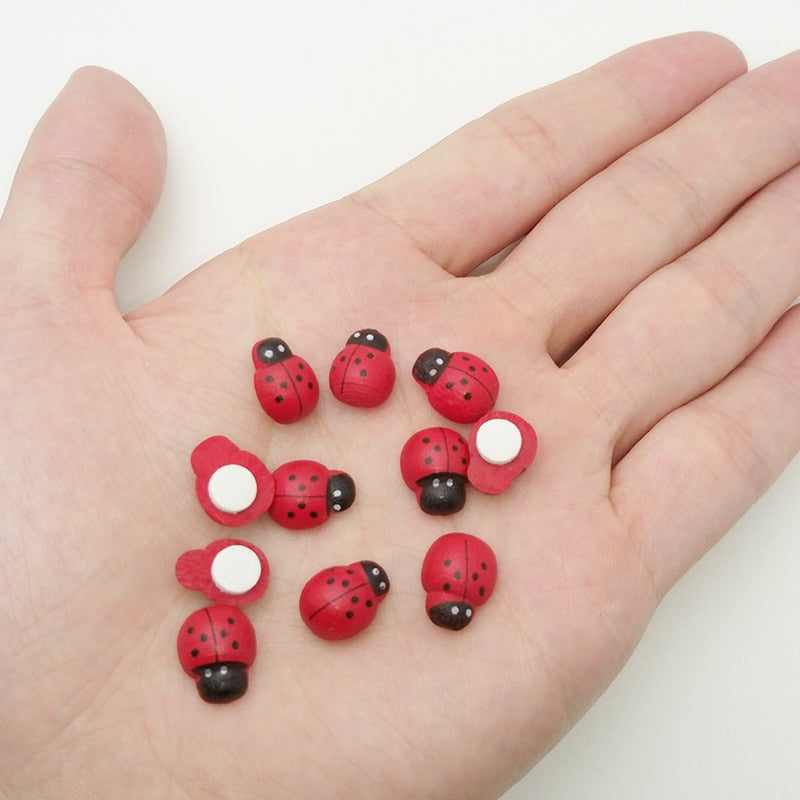 100pcs Wooden Ladybug Sponge Self-adhesive Sticker