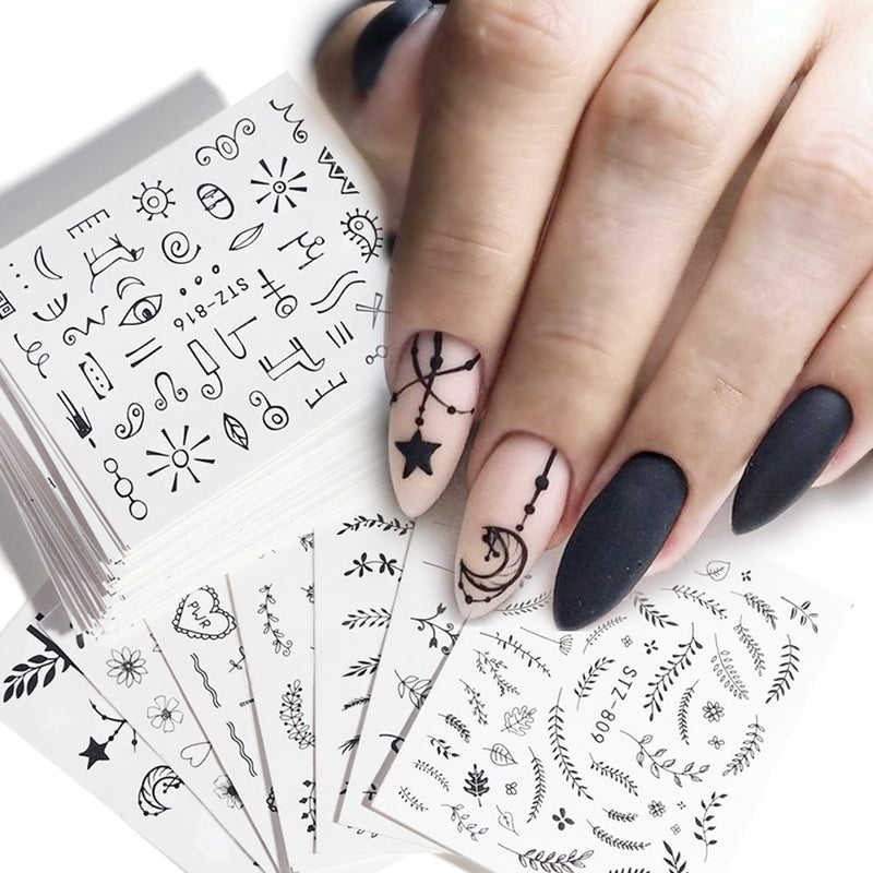 68pcs Water Transfer Nail Art Stickers
