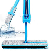 Blue Double-Side Flat Mop Hands-Free Washable Mop
