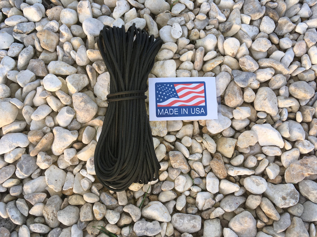 U.S. Made Paracord - 100ft. - OD Green - Blackland Prairie Survival, Supply, and Surplus