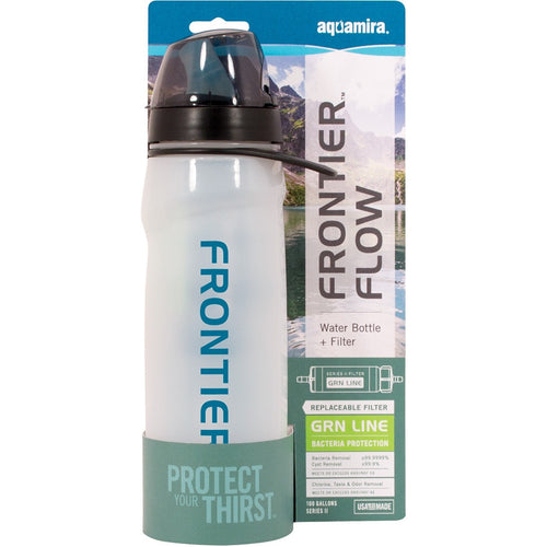 Frontier Flow Water Bottle + Filter - Series II with GRN Line Water Filtration - Blackland Prairie Survival, Supply, and Surplus
