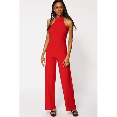 Red Halterneck Backless Jumpsuit Ex-branded