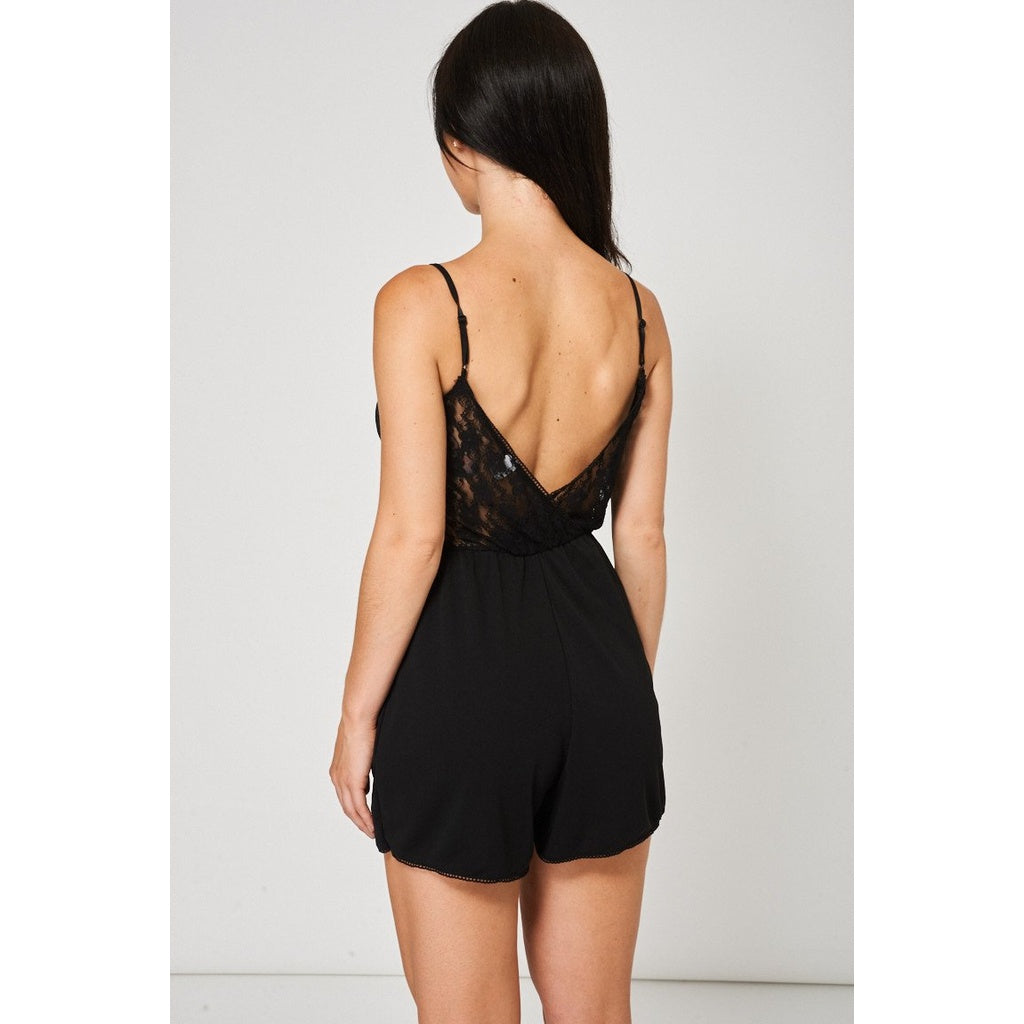 Floral Lace Cami Playsuit In Black Ex-Branded