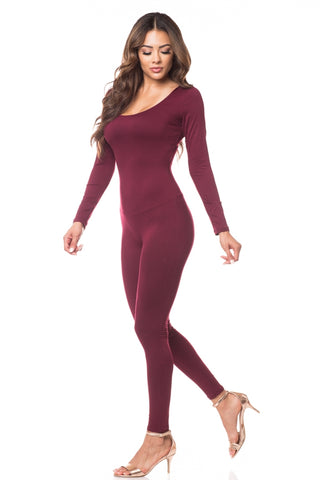 Long Sleeve Scoop Neck Fitted Jumpsuit