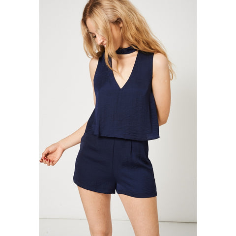 Navy Double Layer Choker Open Back Playsuit Ex-Branded