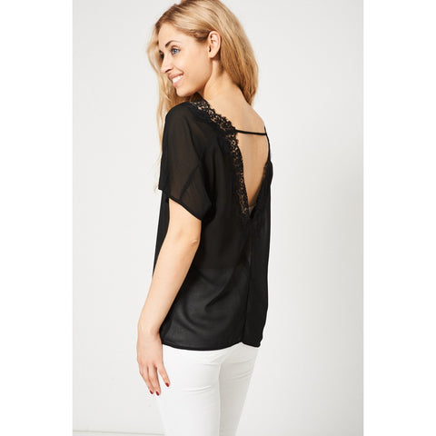 Open Back Black Top With Lace Detail