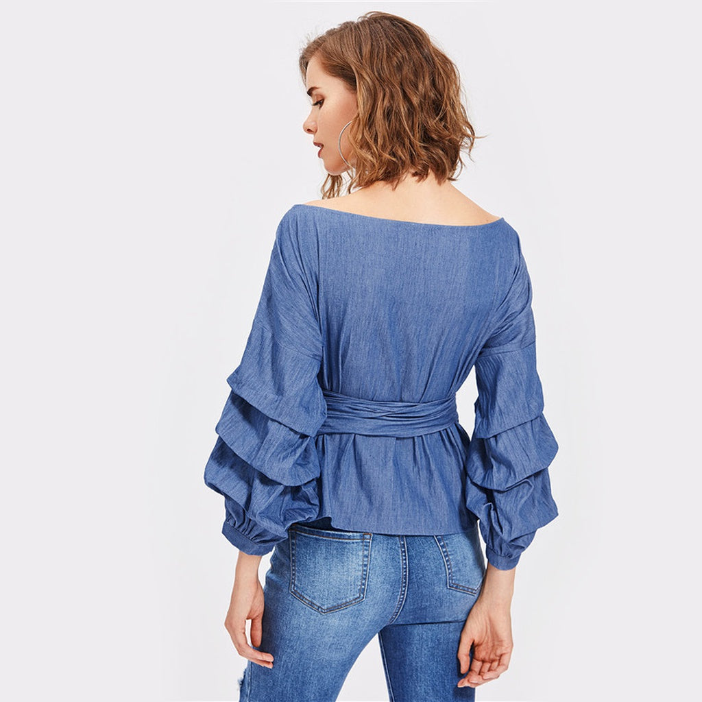Gathered Sleeve Surplice Wrap Chambray Top