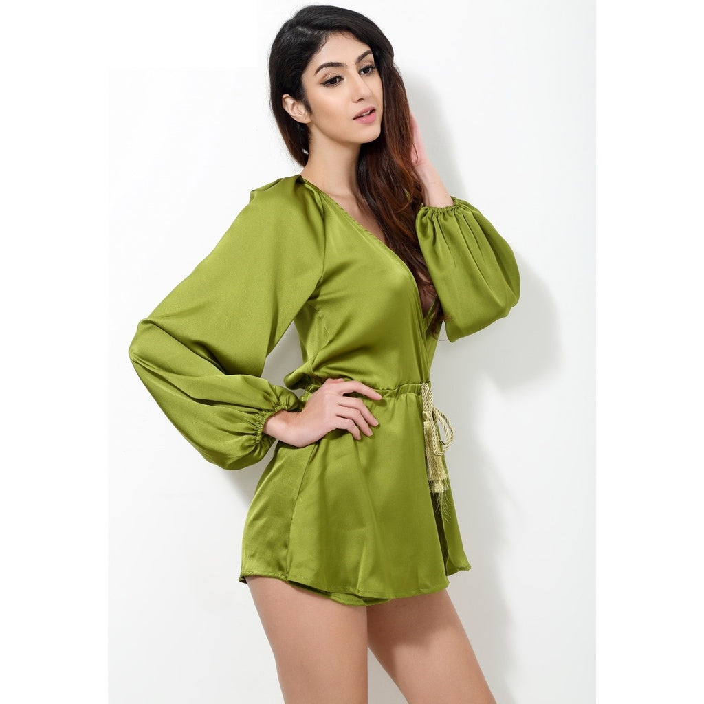 Green Play suit Romper Plunge V Neck