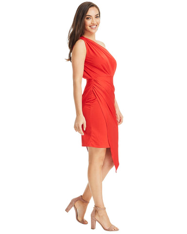One Shoulder Asymmetrical Dress - Red