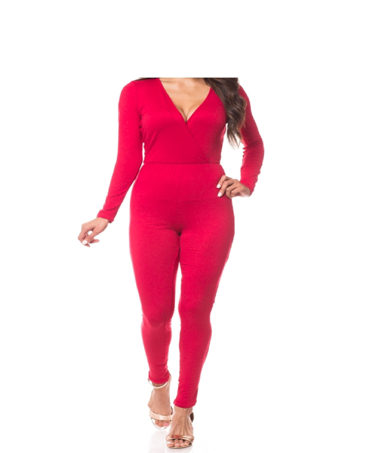 Surplice Long Sleeve Fitted Jumpsuit