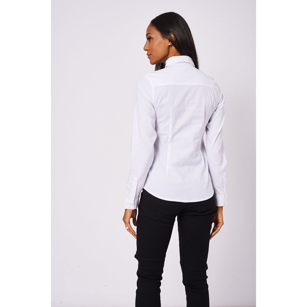 Stretch Cotton White Shirt Ex-Branded