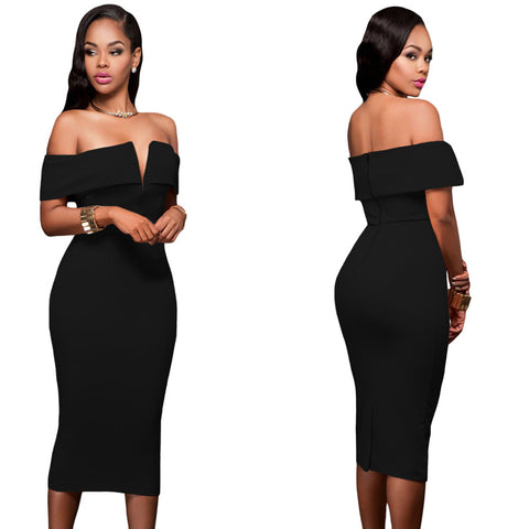 Sexy V Neck Bodycon Off Shoulder Midi Pencil Dress