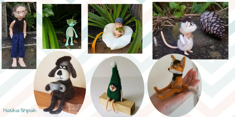 Needle Felting combining with clay 3D sculptures