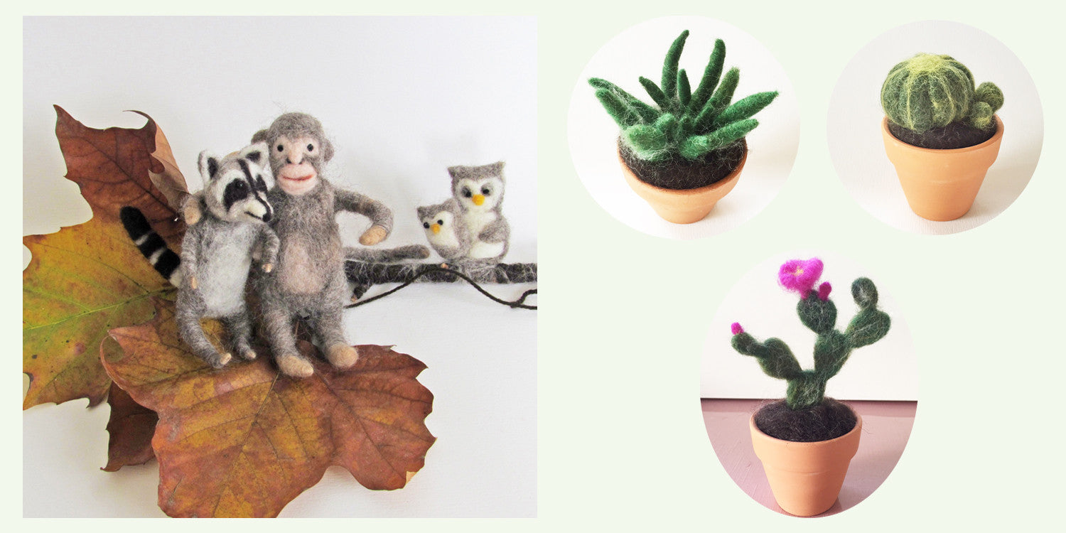 Needle Felting, wool felted animals, needle felted cactus plant