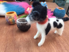 Needle Felting Dog & Wet Felting small bowls