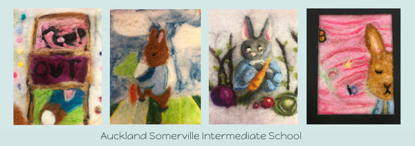 Needle Felting wool painting from Auckland Somerville Intermediate School