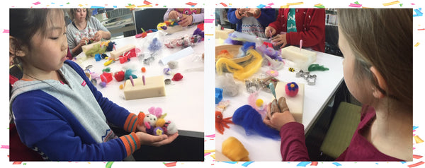Children needle felting artwork in Felting 4 Fun workshop