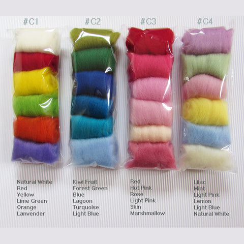 NZ Wool Roving For Felting - 6 colours pack